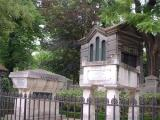 Tombs of Molière (right) and La Fontaine in Père Lachaise Cemetery, Paris